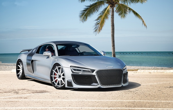 Picture Palma, the ocean, Audi, audi, silver, sports car, silvery