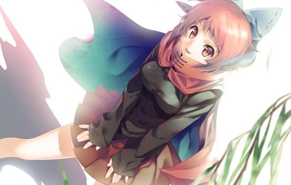 Picture look, girl, smile, the wind, branch, scarf, touhou, art, sekibanki, niwashi