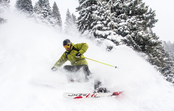 Picture winter, snow, mountains, ski, glasses, helmet, pine, skier, extreme sports