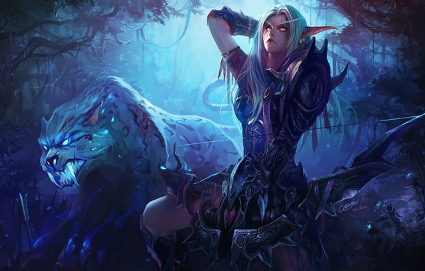 Picture forest, night, tiger, elf, bow, Archer, art, fangs, beast, elf, world of warcraft, chenbo