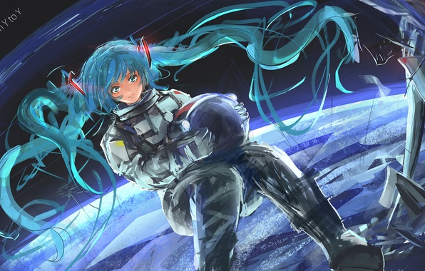 Picture girl, space, earth, planet, anime, the suit, art, vocaloid, hatsuny miku, an ice cream