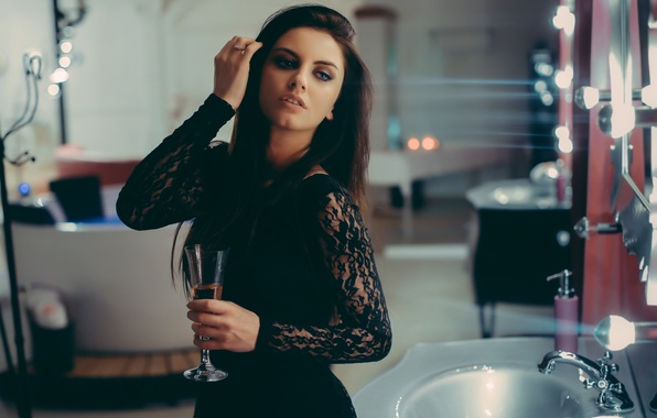 Picture look, girl, face, hair, glass, makeup, brunette, lips