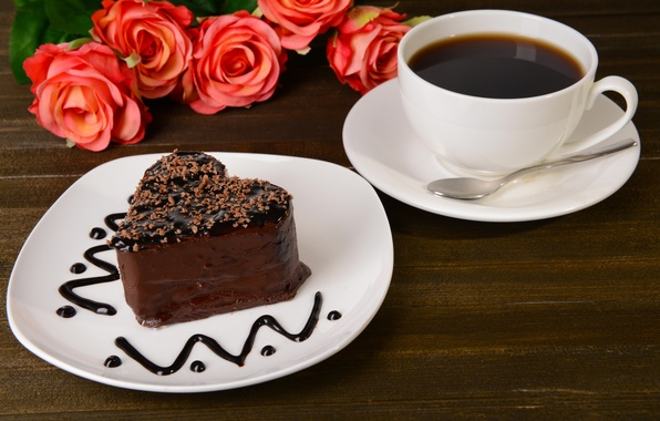 Picture coffee, chocolate, roses, cake, cake, chocolate, coffee, roses