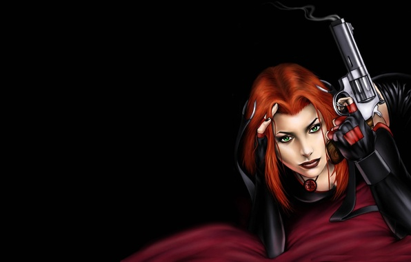 Picture eyes, look, girl, gun, the game, black background, red hair, Bloodrayne, vampire