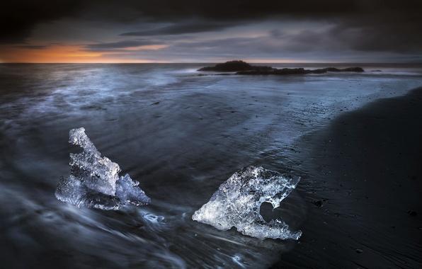 Photo wallpaper sea, night, ice
