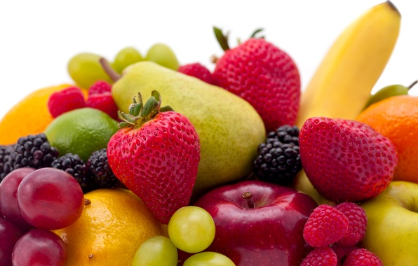 Picture berries, raspberry, Apple, strawberry, grapes, pear, fruit, banana
