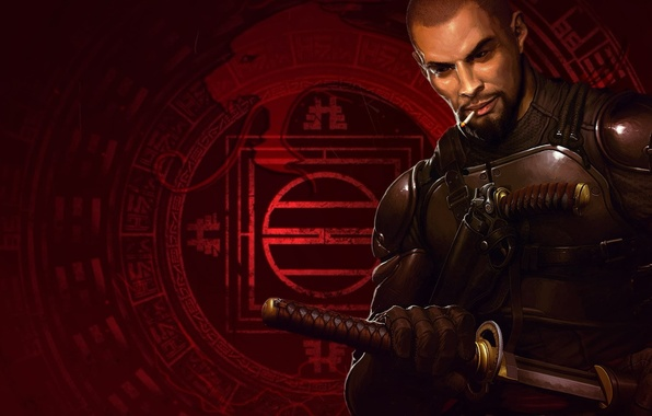 Picture gun, sword, katana, cigarette, beard, fighter, equipment, 2013, remake, Daito, Shadow Warrior, Flying Wild Hog, …