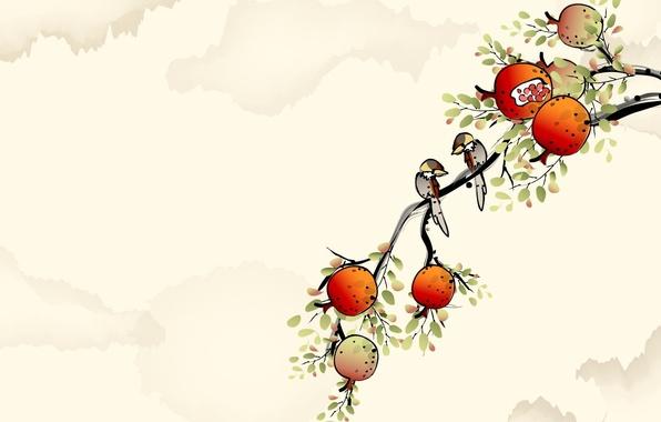 Picture branch, art, watercolor, bird, garnet