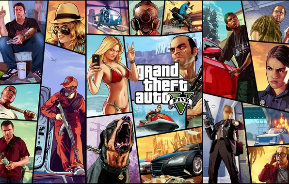 Picture Michael, Grand Theft Auto V, Franklin, Trevor, gta 5, Lamar, Vasquez, Ron, Lester, Tracey, Chop, …