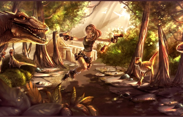Picture girl, trees, stones, guns, the game, attack, dinosaurs, lara croft, tomb raider