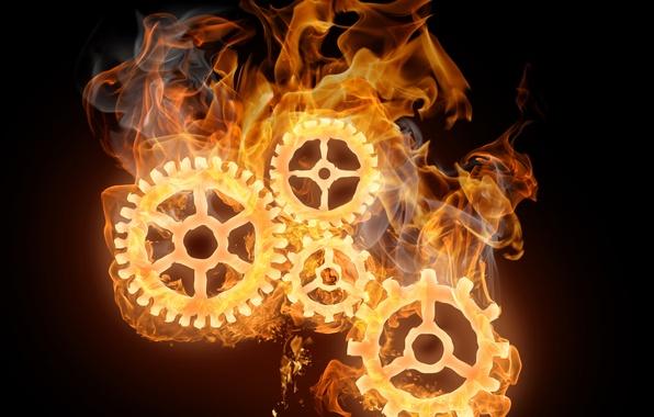 Picture fire, mechanism, gear, Flames