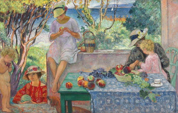 Picture sea, table, people, Villa, picture, garden, sail, genre, Tasting Fruits on the Terrasse at Sainte-Maxime, ...