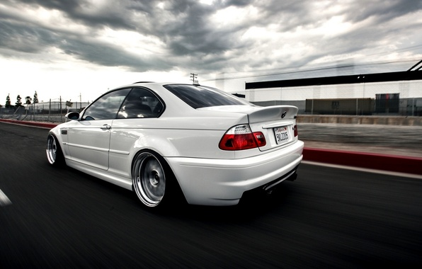 Picture Speed, White, Car, Car, Speed, Bmw, E46, BMW, Wallpaper, Stance, Wallapapers, Back, E46