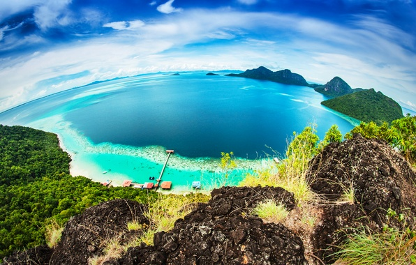 Picture sea, beach, the sky, tropics, rocks, coast, horizon, panorama, Bungalow, the view from the top, …