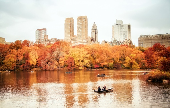 Picture autumn, trees, nature, the city, lake, people, building, home, New York, skyscrapers, boats, USA, USA, …