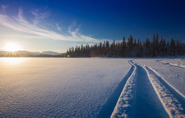 Picture winter, forest, snow, sunset, lake, Hand, track, Finland, Finland, In Kuusamo, Ruka, Kuusamo