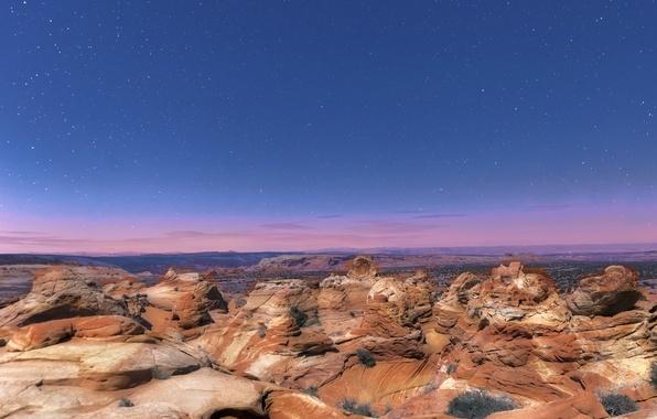 Picture stars, night, rocks, AZ, USA, national Park