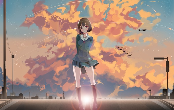 Picture road, the sky, girl, clouds, sunset, anime, art, schoolgirl, lucky, catholic megumi, saenai heroine from …