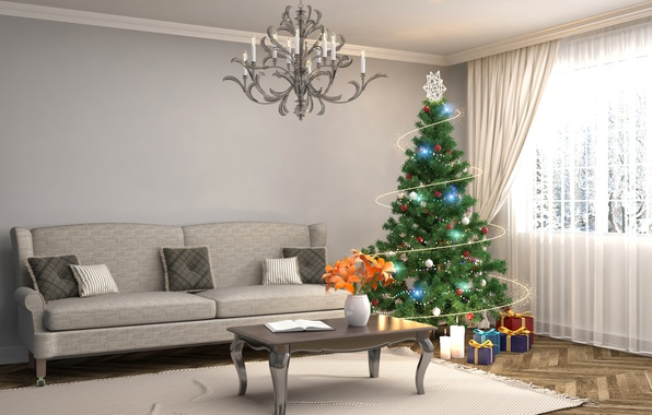 Picture Design, Sofa, New Year, Room, Interior, Living room, Holidays