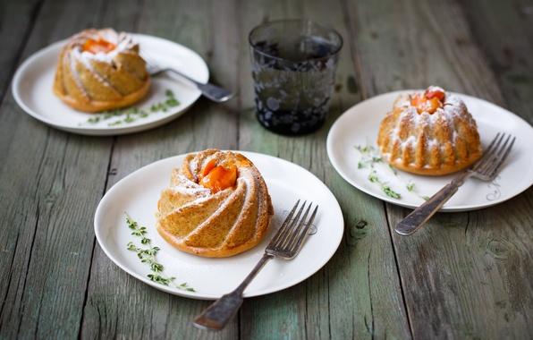 Picture glass, plates, fruit, apricot, cakes, cupcakes, fork, Julia Khusainova, apricot