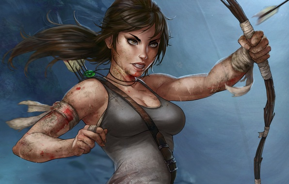 Picture face, weapons, blood, Mike, bow, art, headband, arrow, ponytail, wound, Lara Croft, Lara Croft, Tomb …