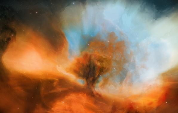 Picture space, stars, nebula, cloud, art