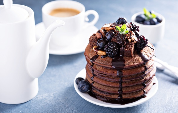 Picture berries, coffee, nuts, mint, BlackBerry, chocolate, blueberries, pancakes, pancake