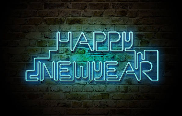Picture light, wall, holiday, new year, brick, neon, 2012, new year, words, congratulations, merry christmas