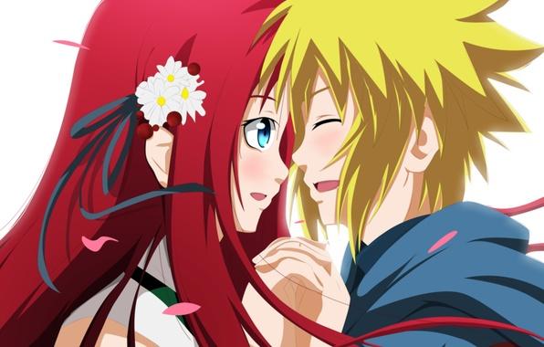 Picture girl, anime, petals, art, naruto, guy, naruto, namikaze minato, kushina uzumaki, piodart