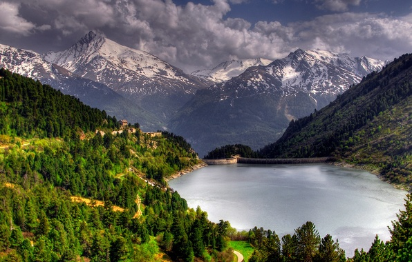 Picture trees, landscape, nature, lake, forest, trees, mountains, forests, lake