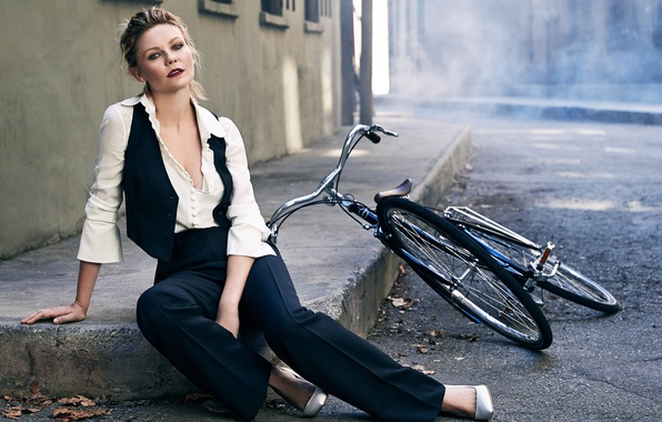 Picture bike, Kirsten Dunst, street, model, makeup, actress, hairstyle, photographer, costume, sitting, pants, The Edit, on …