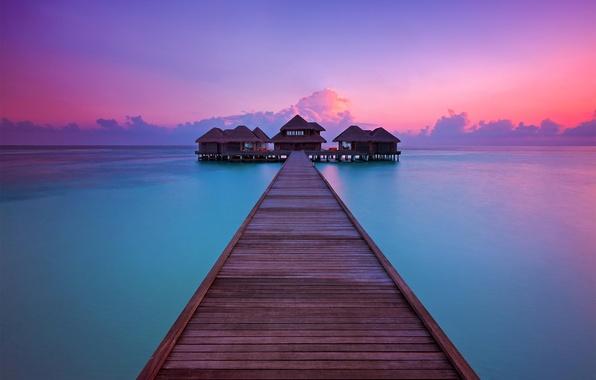 Picture sunset, the ocean, pierce, resort, Bungalow, Maldives, Per Aquum, Fushi, Huvafen