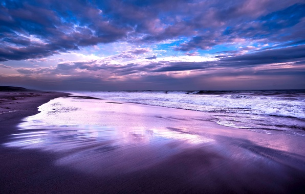 Picture the sky, clouds, clouds, the ocean, shore, Sea, the evening, surf, blue, lilac