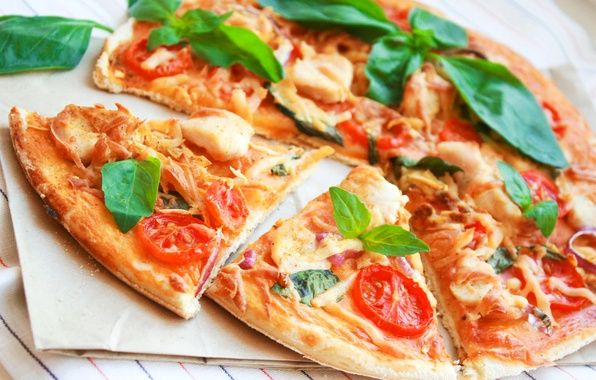Picture food, chicken, cheese, bow, meat, vegetables, pizza, tomatoes