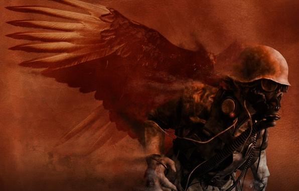 Picture war, the demon, soldiers, destruction, chaos