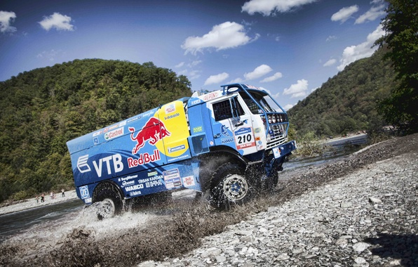 Picture mountains, squirt, river, dust, truck, rally, KAMAZ, kamaz, Paris-Dakar, KAMAZ-master