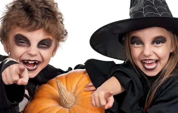 Picture children, holiday, hat, pumpkin, Halloween