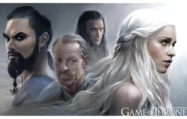 Picture Game of Thrones, Emilia Clarke, Daenerys Targaryen, TV Series, Khal Drogo, Jason Momoa, hbo, Jorah …