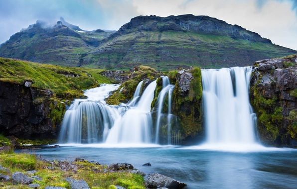 Picture mountains, waterfall, Iceland, Iceland, Kirkjufoss, Grundarfjordur, Grundarfjordur