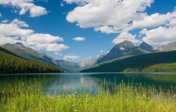 Picture clouds, mountains, lake, Montana, Glacier National Park, Montana, Glacier national Park, Bowman Lake