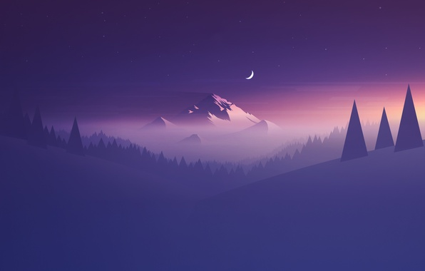 Picture Moon, Purple, Mountain, Minimalism, Abstraction