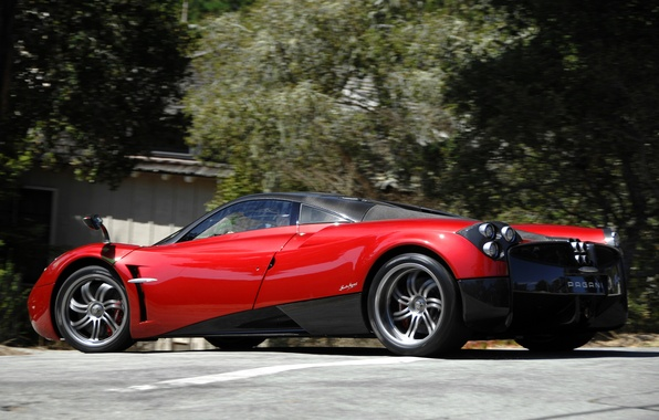 Picture red, supercar, red, Pagani, supercar, street, Pagani, wire, to huayr