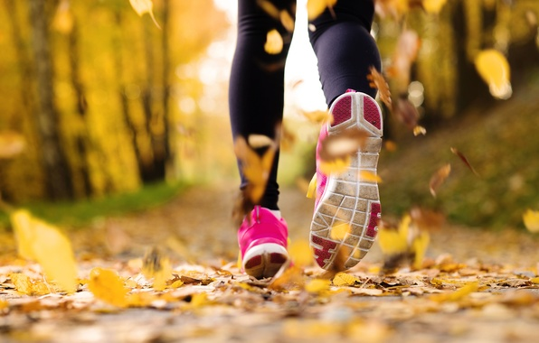 Picture autumn, leaves, girl, macro, trees, background, widescreen, Wallpaper, sport, shoes, yellow, running, wallpaper, trees, sneakers, …