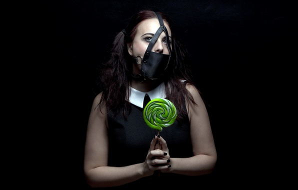 Picture girl, mask, candy that will