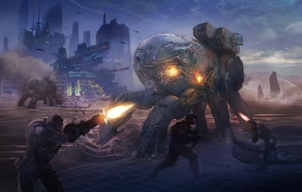 Picture the city, weapons, robots, art, soldiers, battle, shots