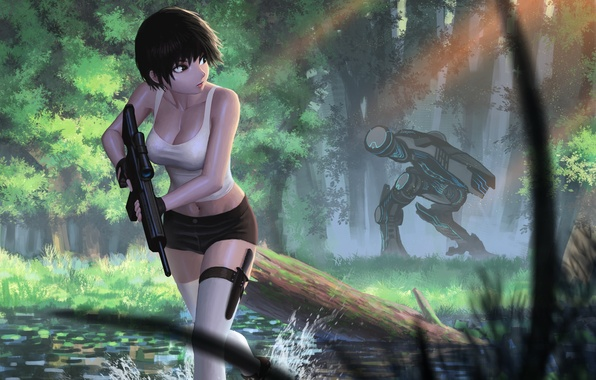 Picture girl, weapons, robot, jungle, art