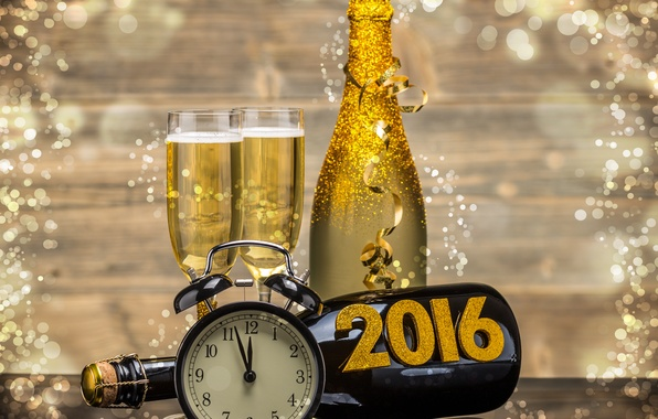 Picture watch, bottle, New Year, glasses, golden, champagne, New Year, clock, Happy, champagne, 2016