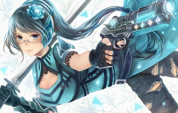 Picture look, girl, smile, gun, weapons, sword, headphones, glasses, art, bounin
