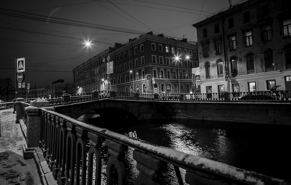 Picture snow, bridge, the city, lights, house, Peter, Saint Petersburg, old, bridges, promenade, center, Neva, Fund, …