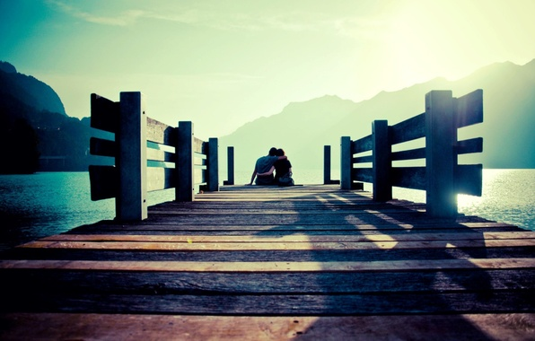 Picture sea, the sky, water, girl, the sun, mountains, bridge, background, stay, widescreen, Wallpaper, romance, mood, …